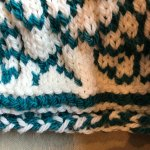AlterKnit: Hat begins with two color flat 3-needle CO