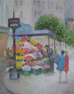 Fiber Dreams: Grandmother's flower stand painting