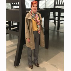 Recounting 2019: Jill with chair at Broad LA