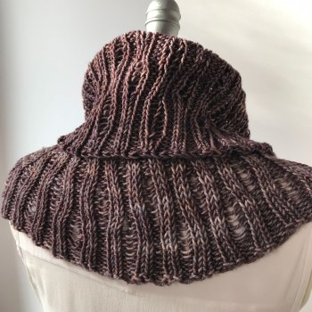 Worsted Cowl, back view, with Cowl on top