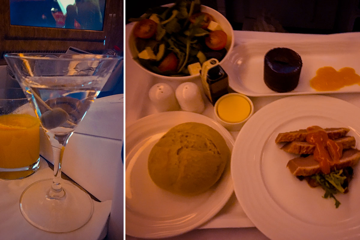 Essen in der Business Class von Emirates