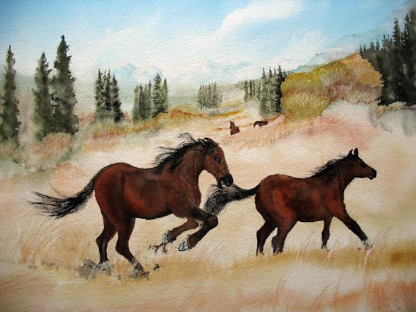 Painting of wild horsed in grass foothills