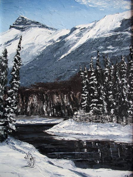 Painting of a winter stream with snow in Canadian mountains