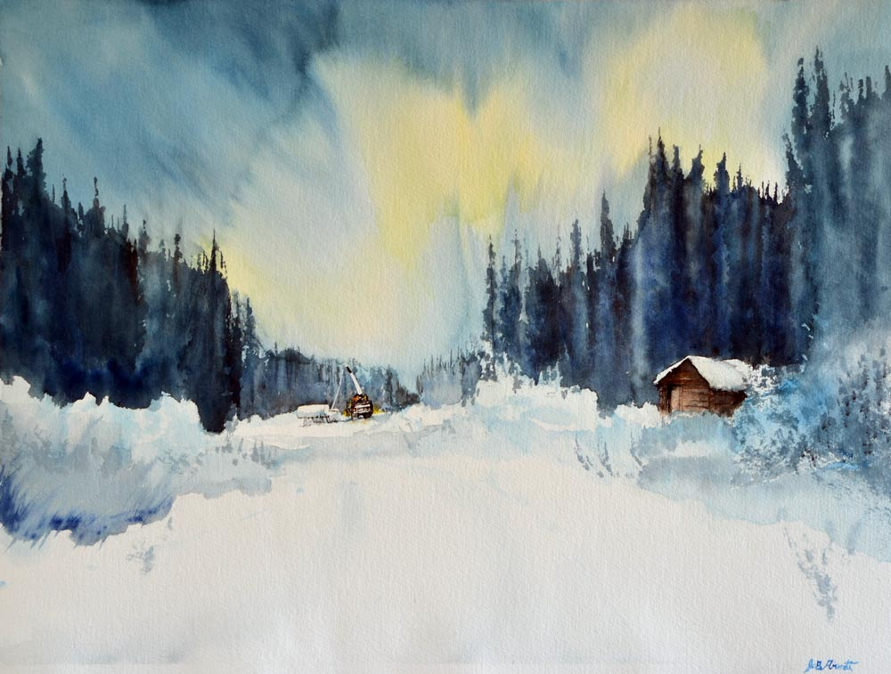 A remote trappers cabin sits on a cutline while workers toil in the distance, northern lights overhead: painting