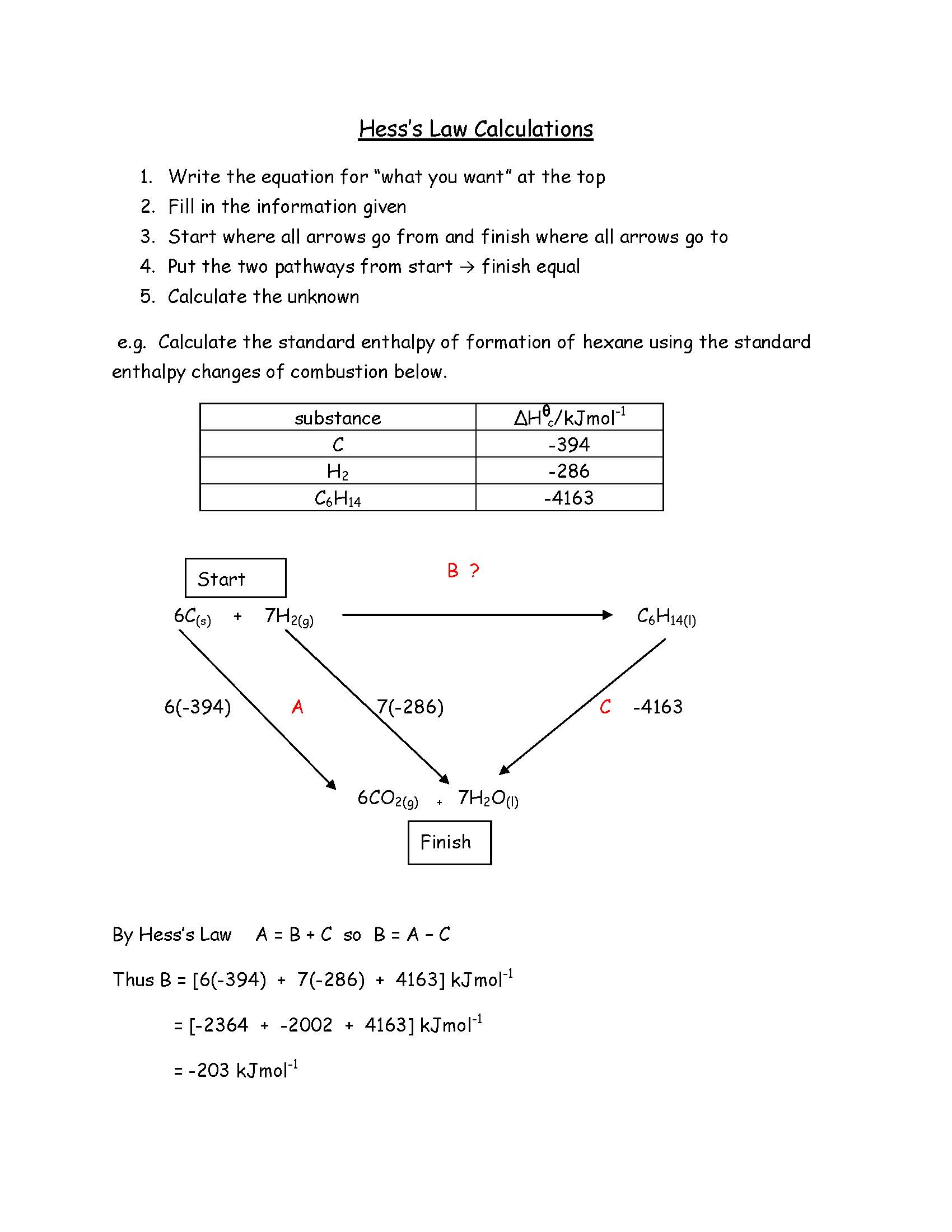 Hess S Law Calculations
