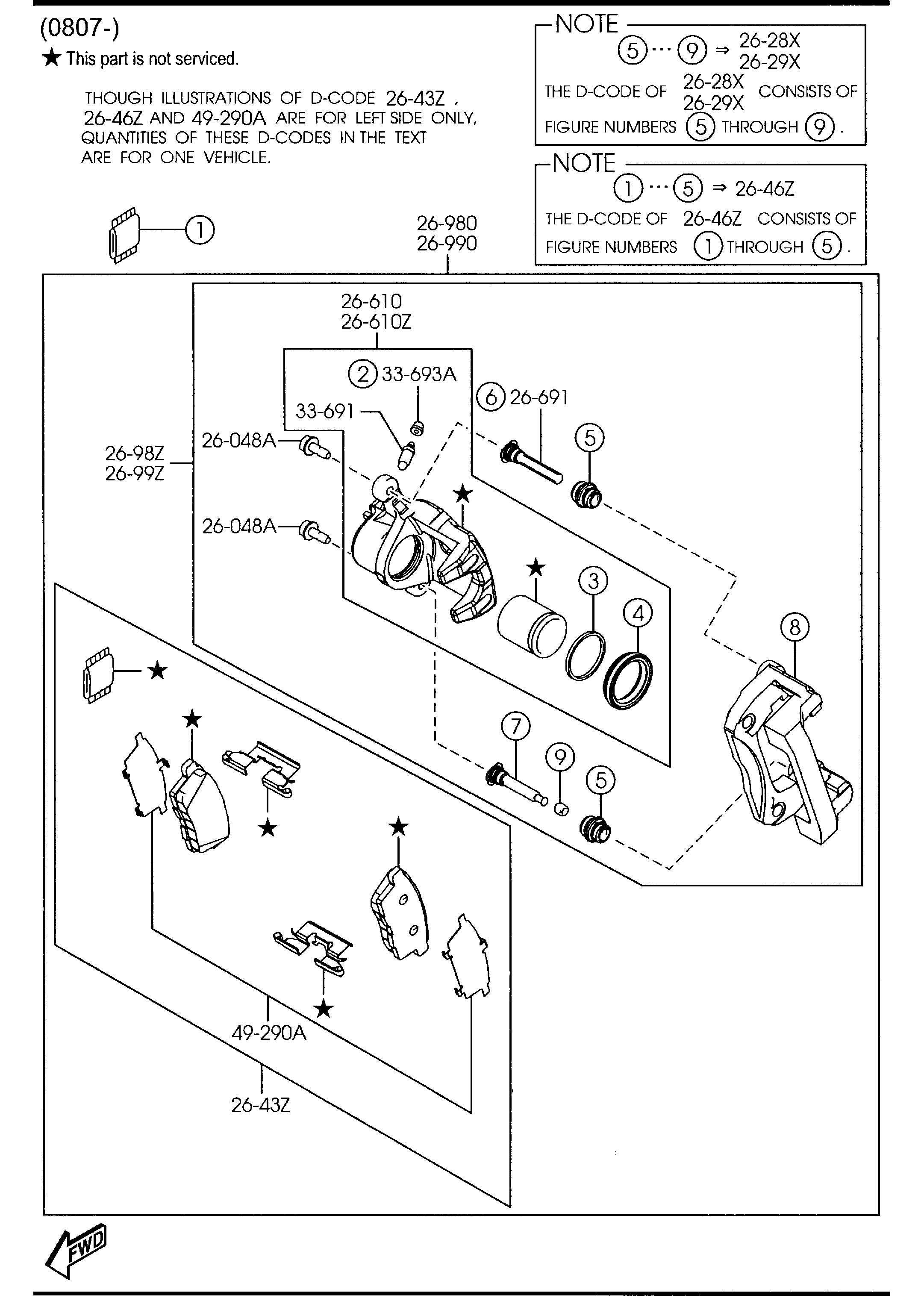 Mazda Cx 7 Pad Set Rear Rr Caliper