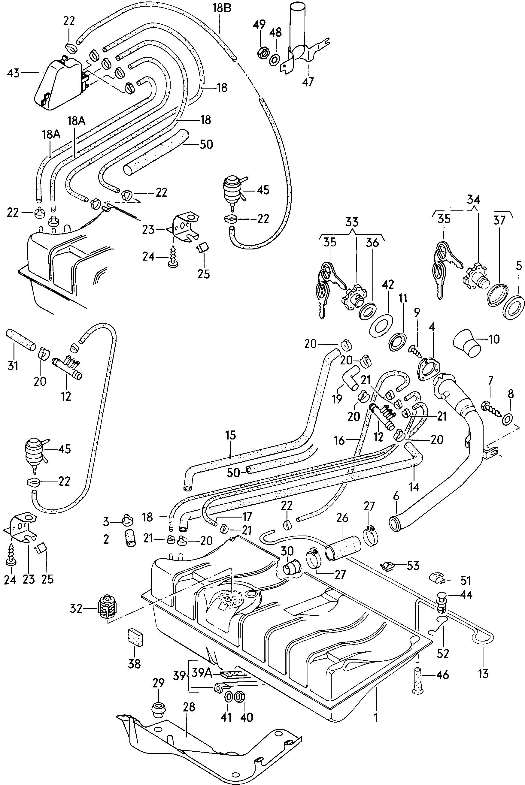 Volkswagen Rabbit Fuel Tank Gravity Valve Vent Tube