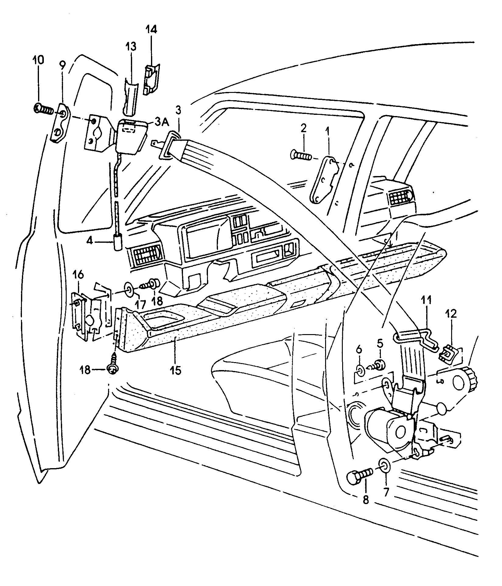 Volkswagen Golf 2 Point Seat Belt Knee Bar Front