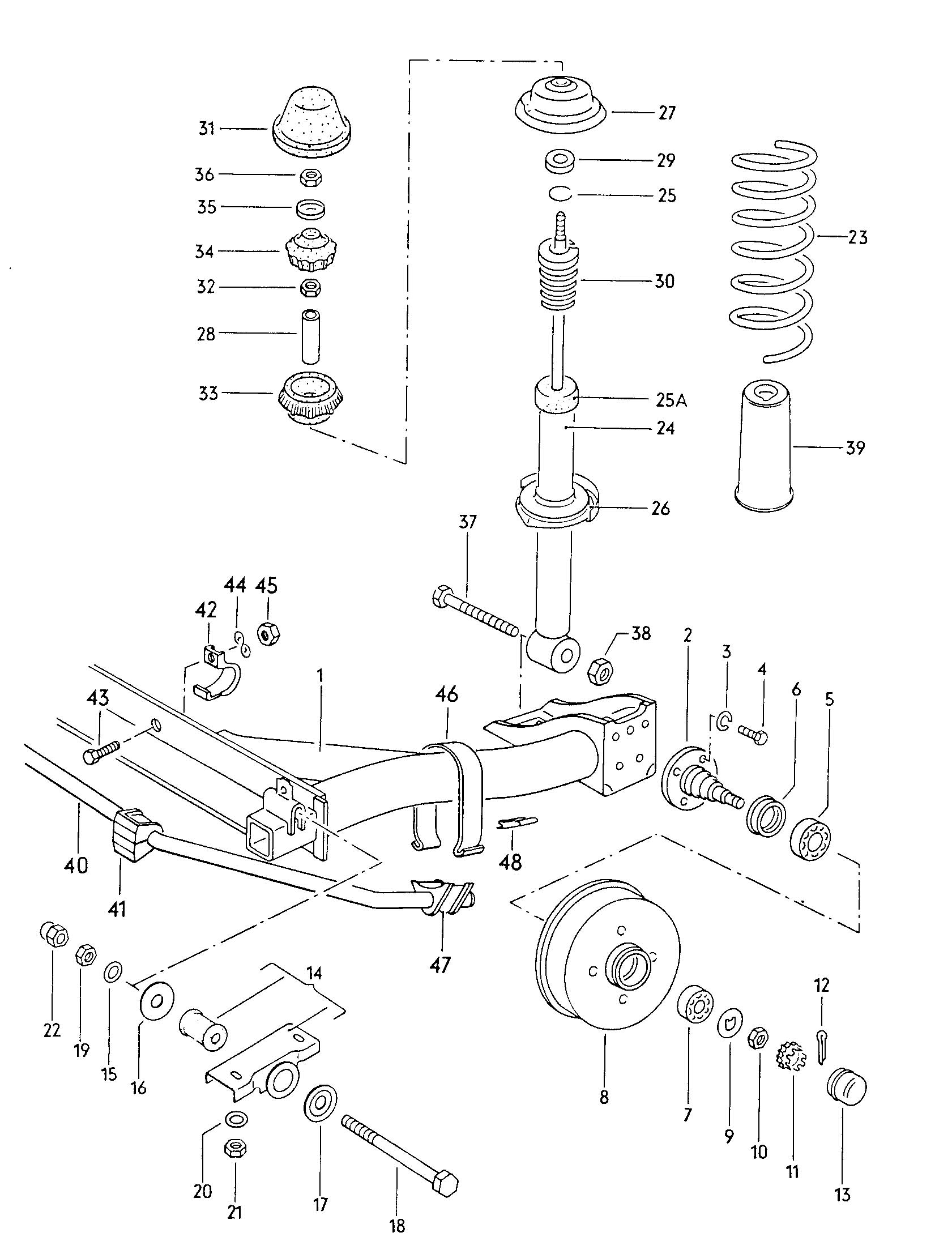 Volkswagen Rabbit Rear Axle Beam With Attachment Shock Absorber Coil Spring Stabilizer Parts Rear