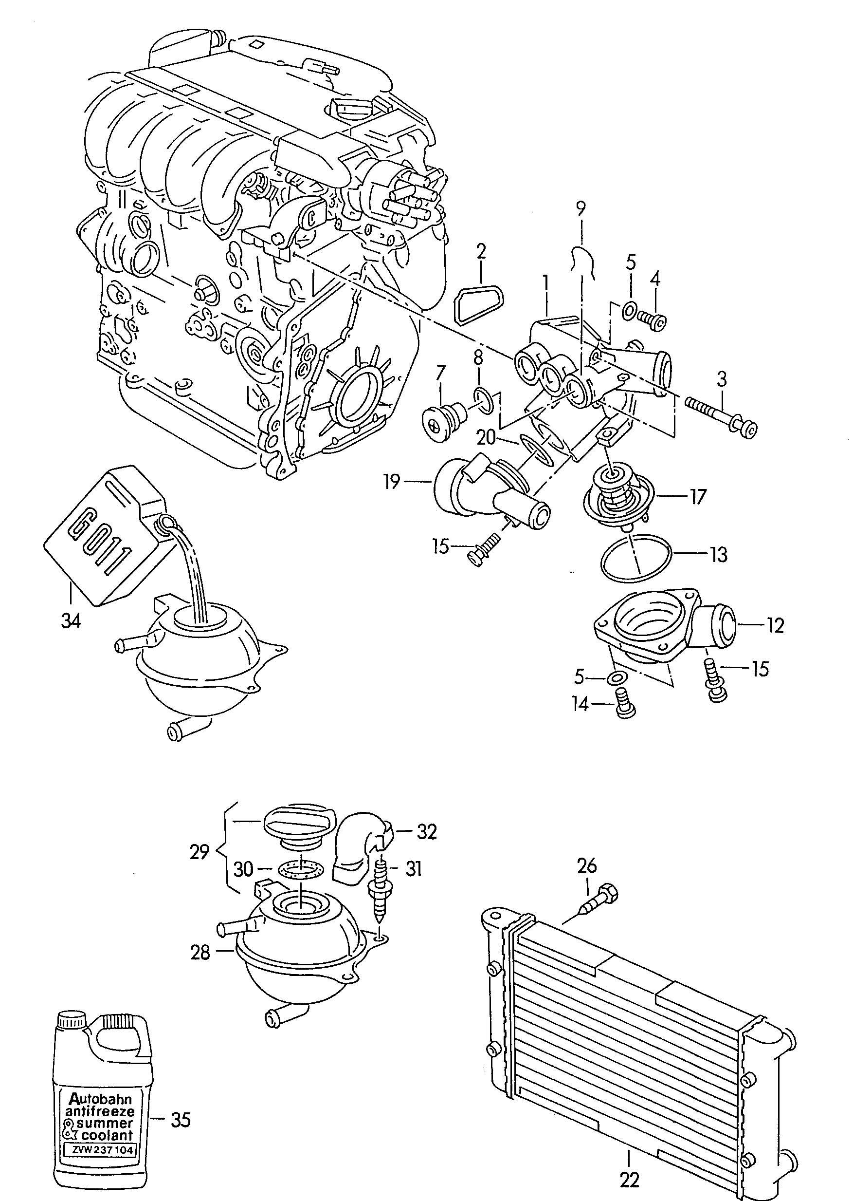 Volkswagen Passat Radiator Reservoir Coolant