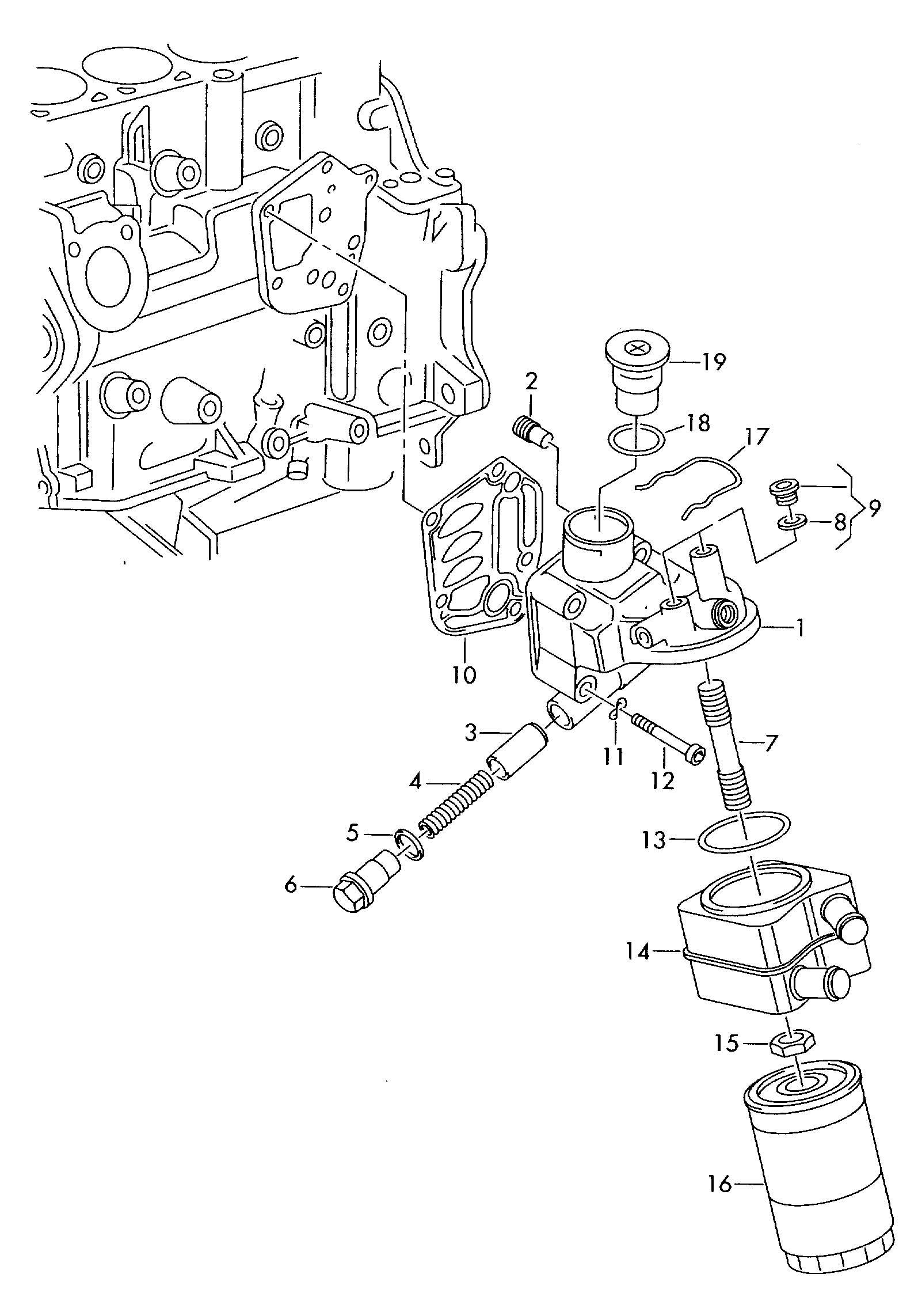 Volkswagen Jetta Oil Filter Adapter Oil Filter Bracket