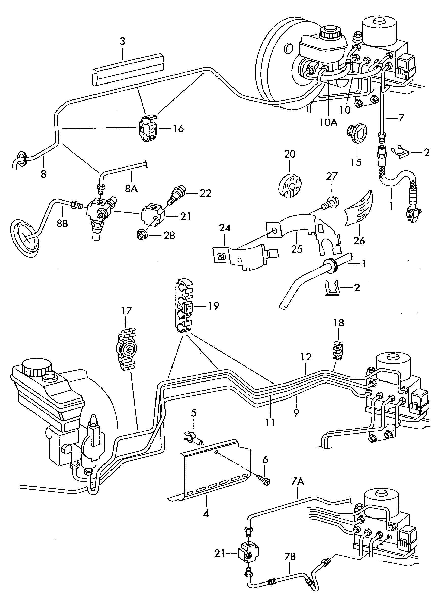 Volkswagen Golf Brake Line From Hydraulic System To Brake