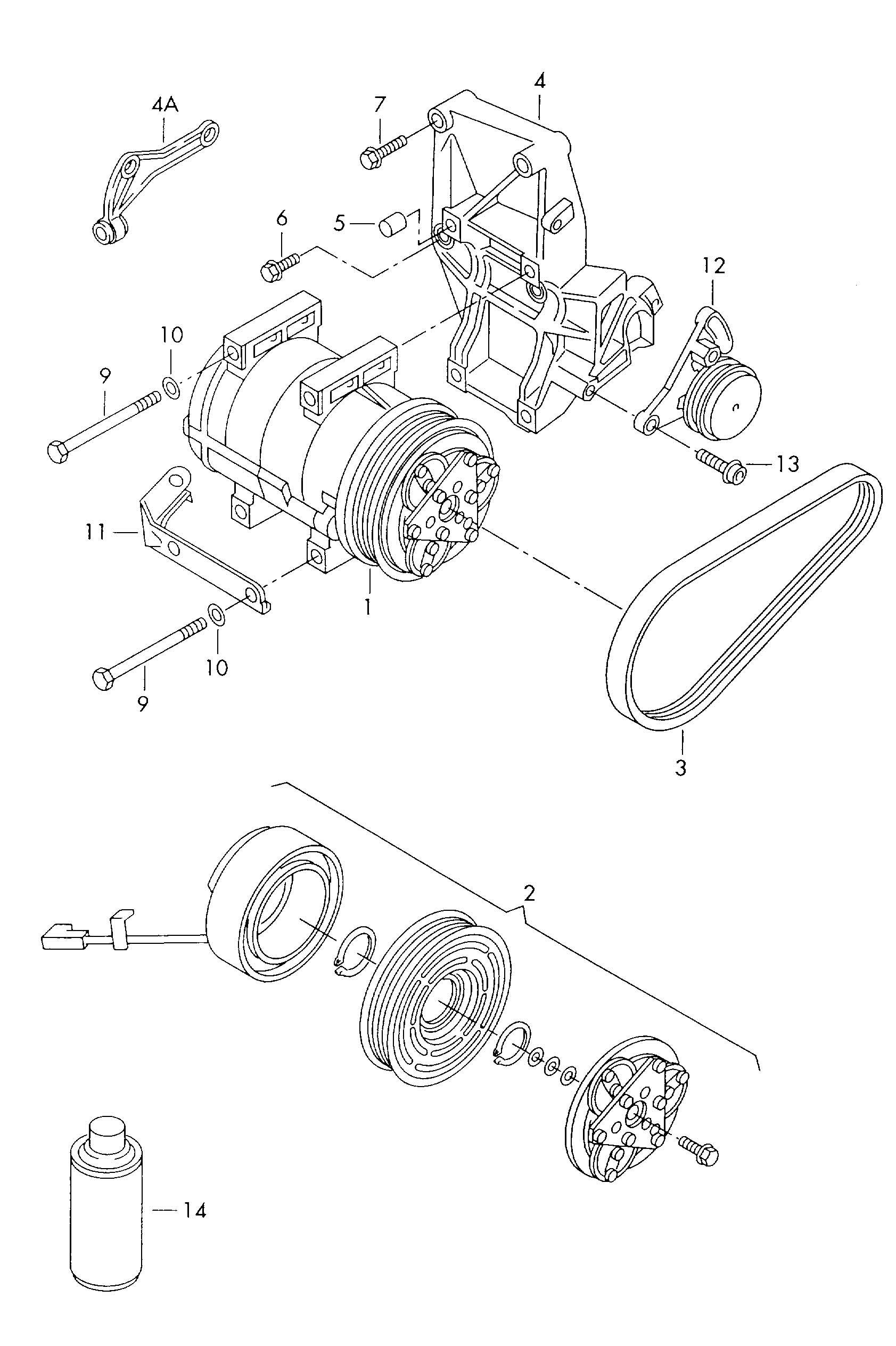 Volkswagen Passat Air Conditioner Compressor With Electro Magnetic Clutch Complete