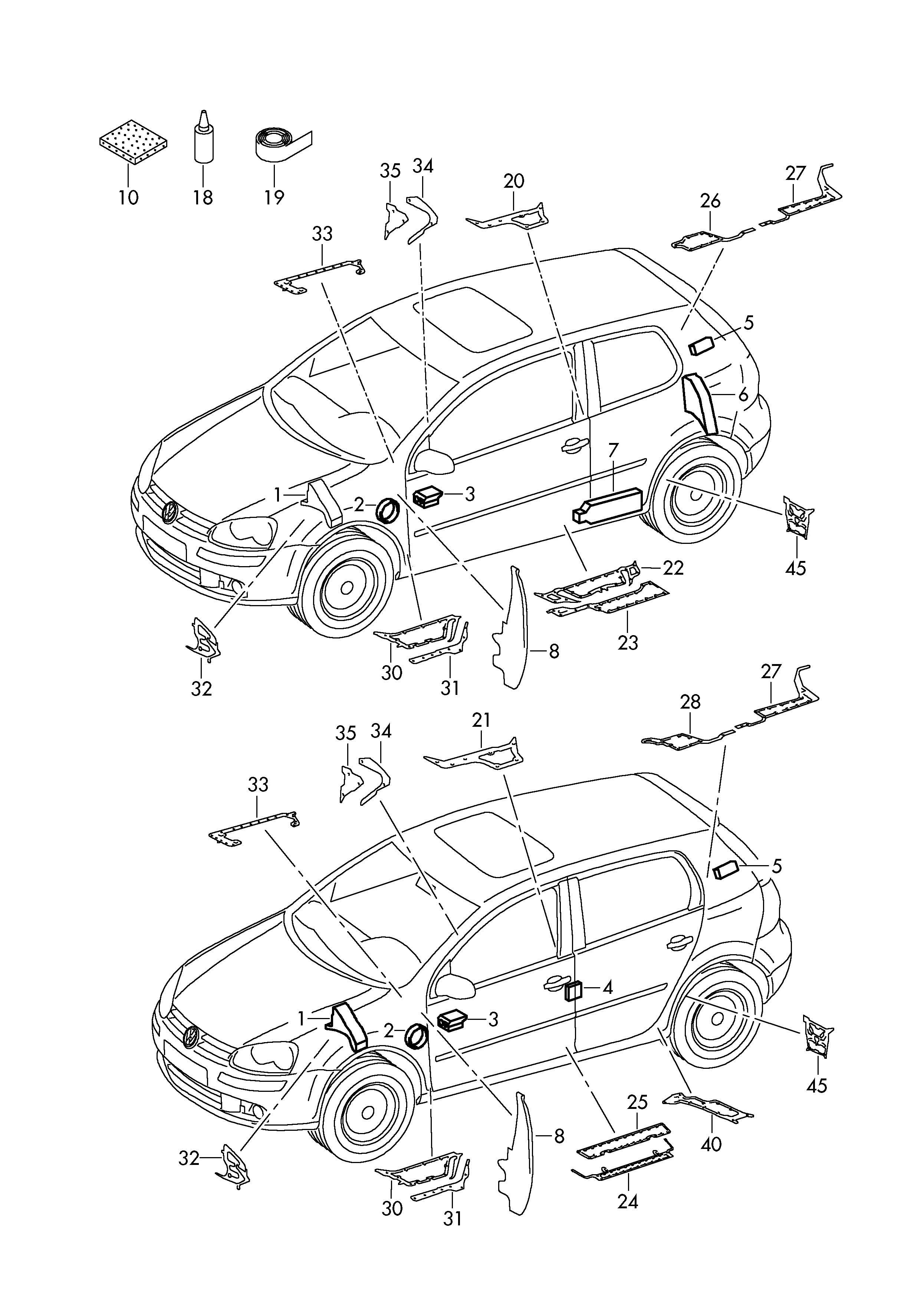 Volkswagen R32 Plastic Foam Pillar A Insert For Service