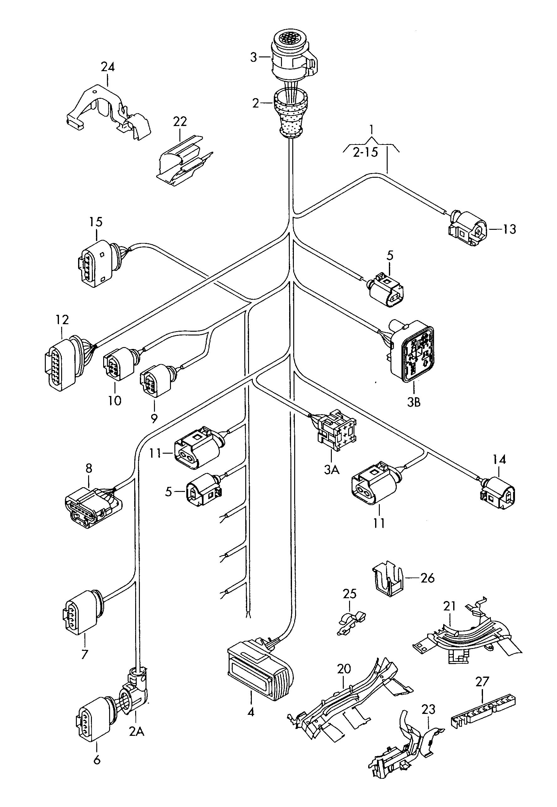 Volkswagen R32 Single Parts Which Do Not Single Parts Sectional Wire Harness For Belong To The