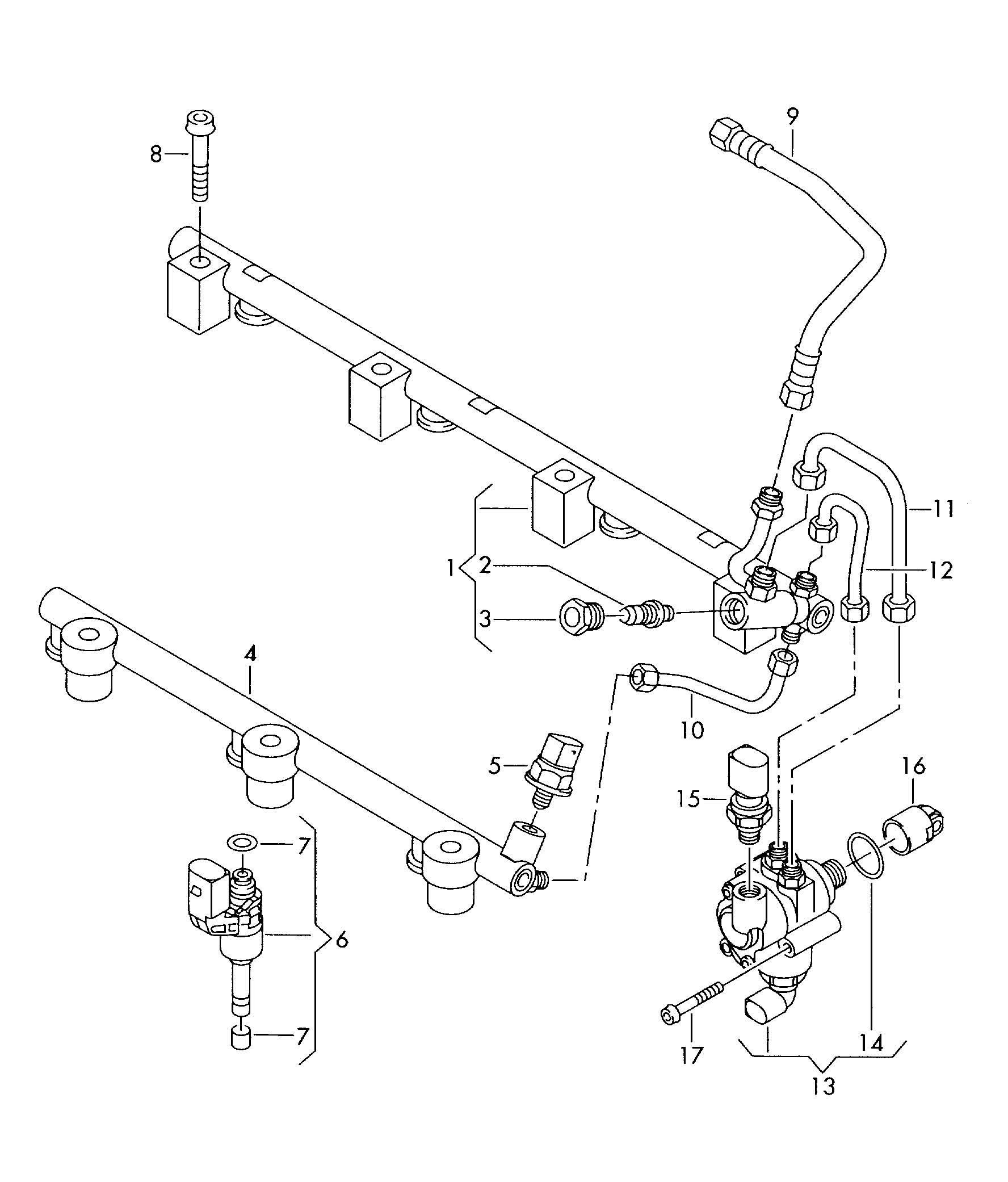 Volkswagen Touareg Fuel Rail Fuel Pump 3 6ltr
