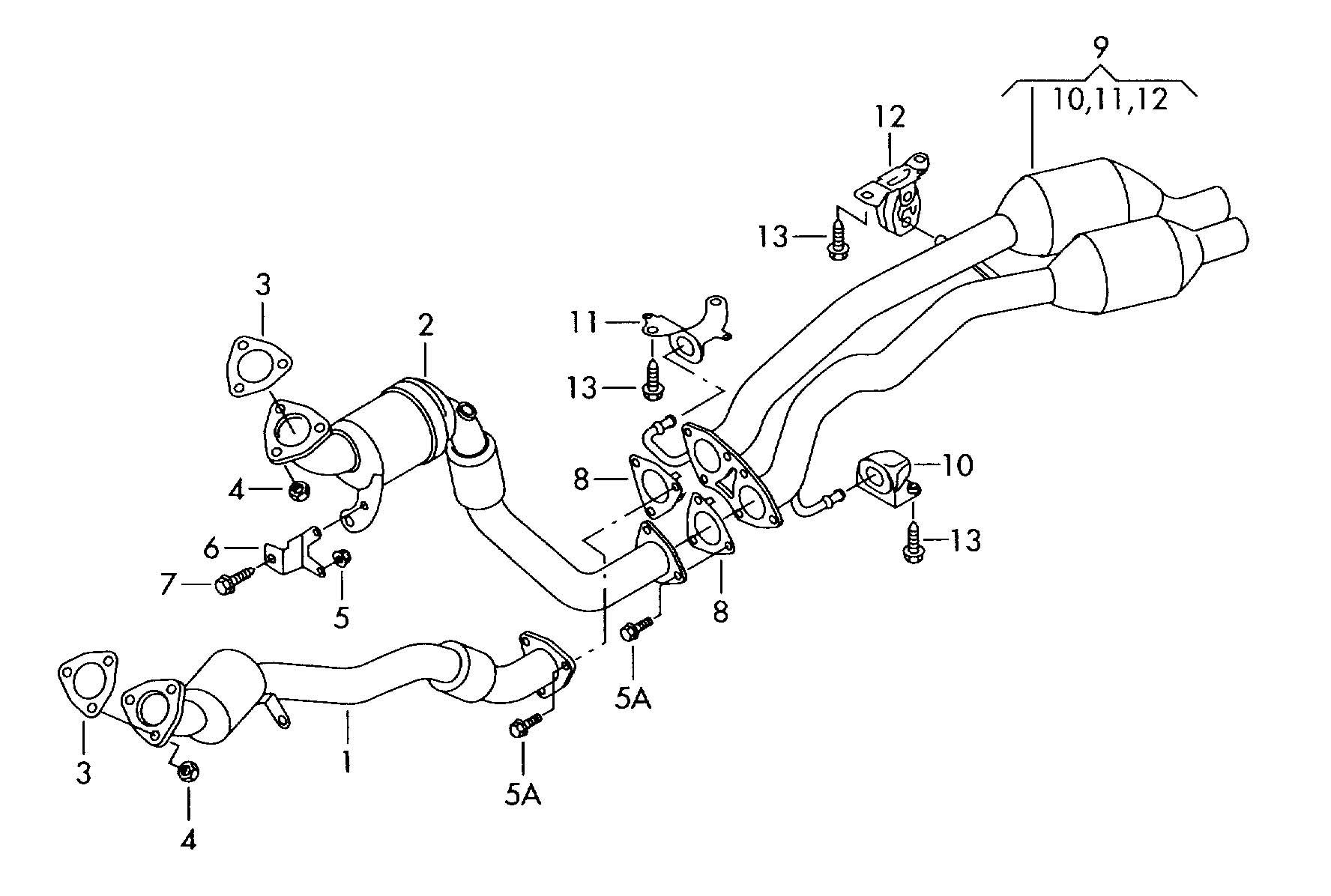 Volkswagen Touareg Exh Pipe With Front Catalyst Exhaust