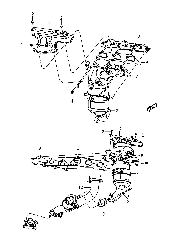 Volkswagen Routan 2 5l 5 Cylinder Exhaust Manifold