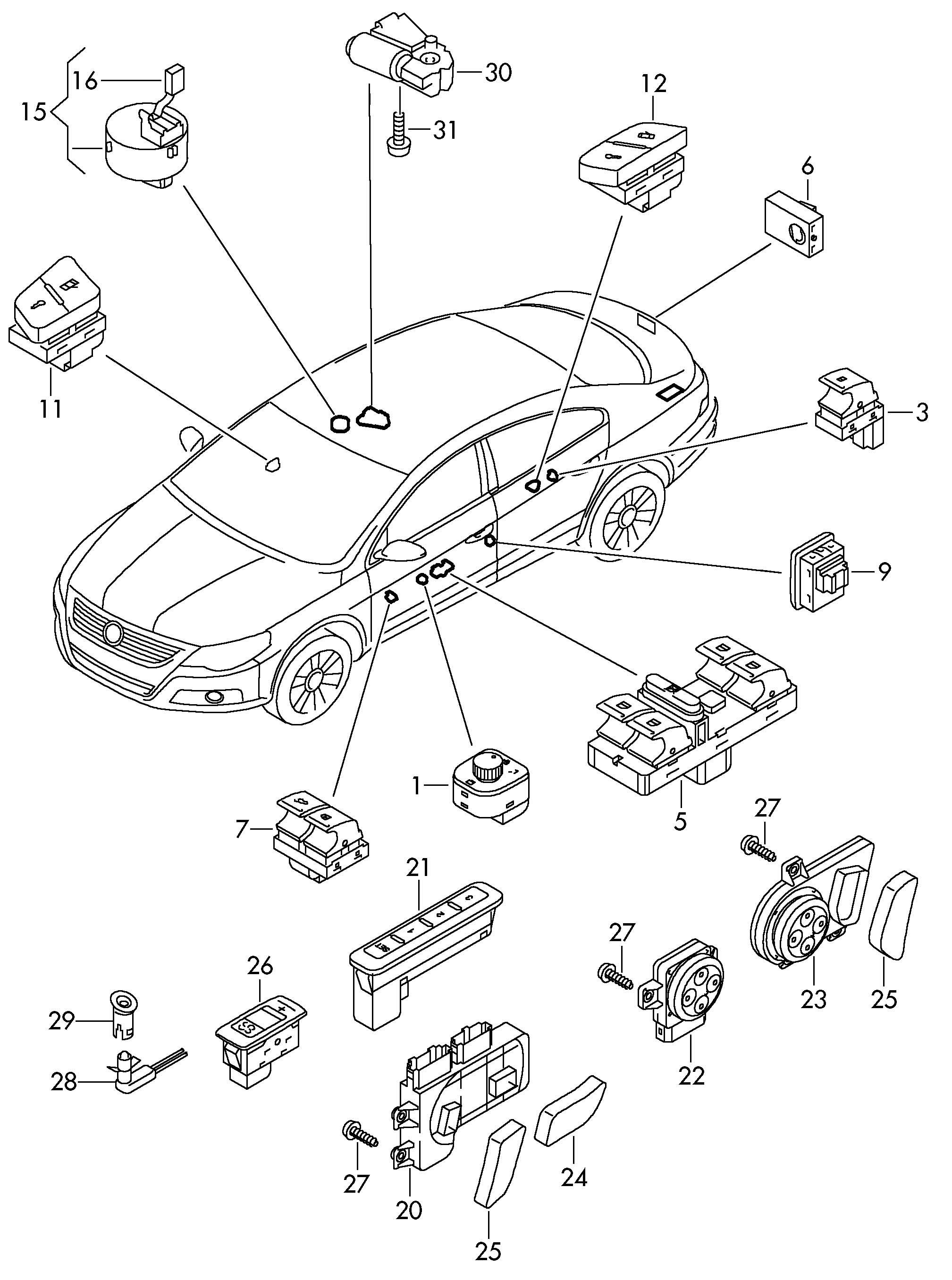 Volkswagen Passat Cc Switch On Roof Switches In Door