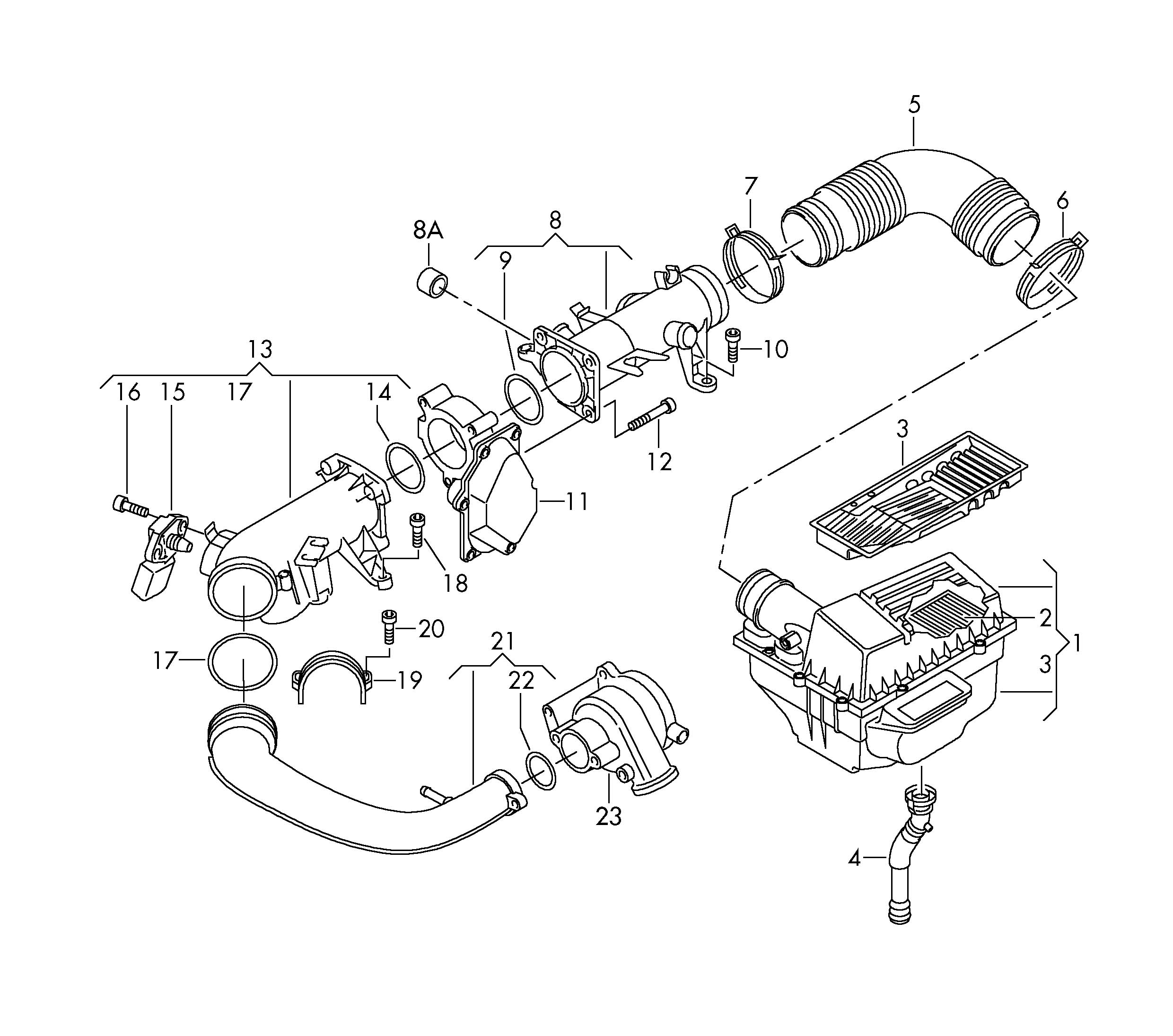 Volkswagen Golf Air Cleaner With Connecting Parts 1 4ltr