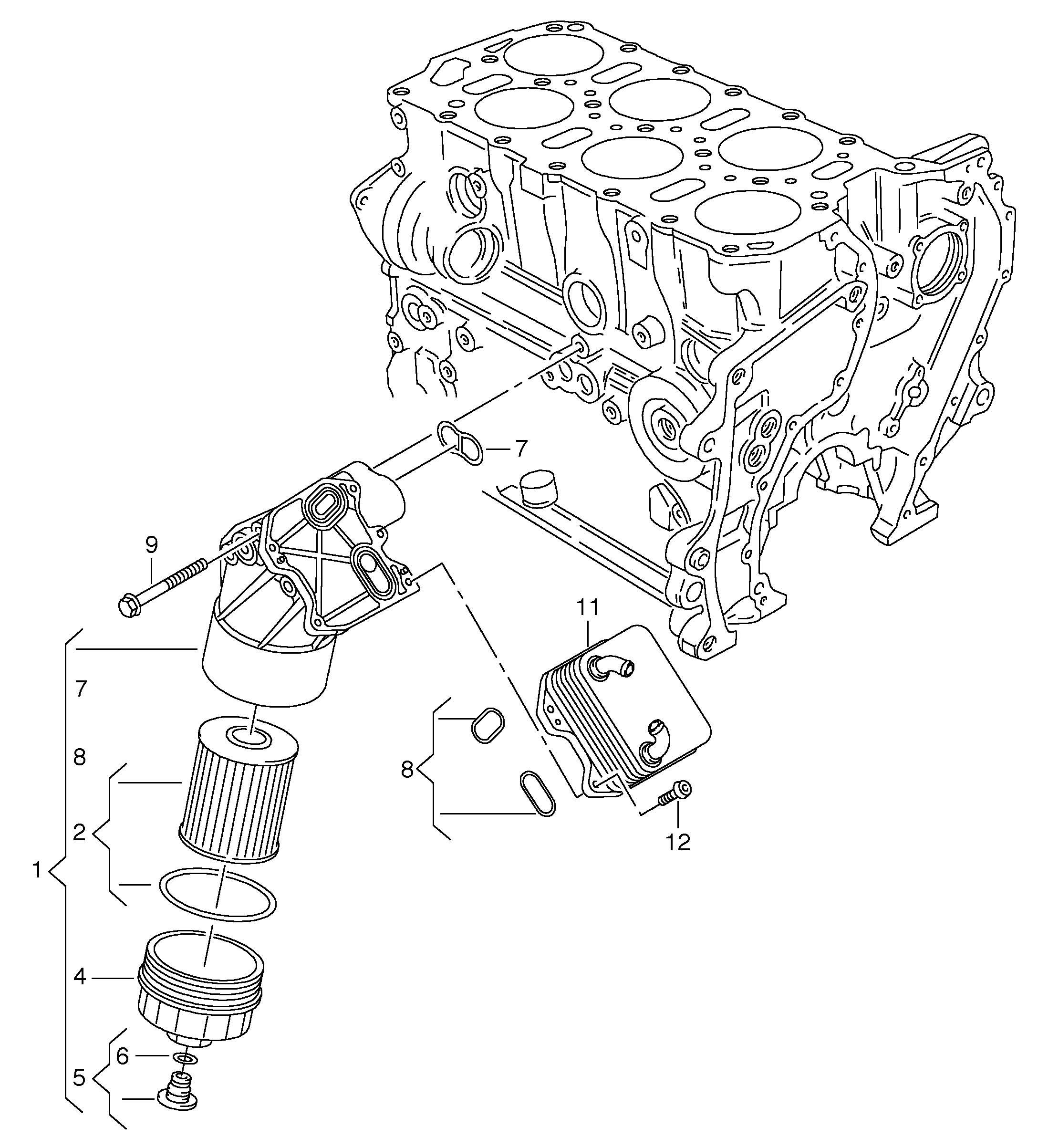 Volkswagen Oil Filter Oil Cooler 3 6ltr