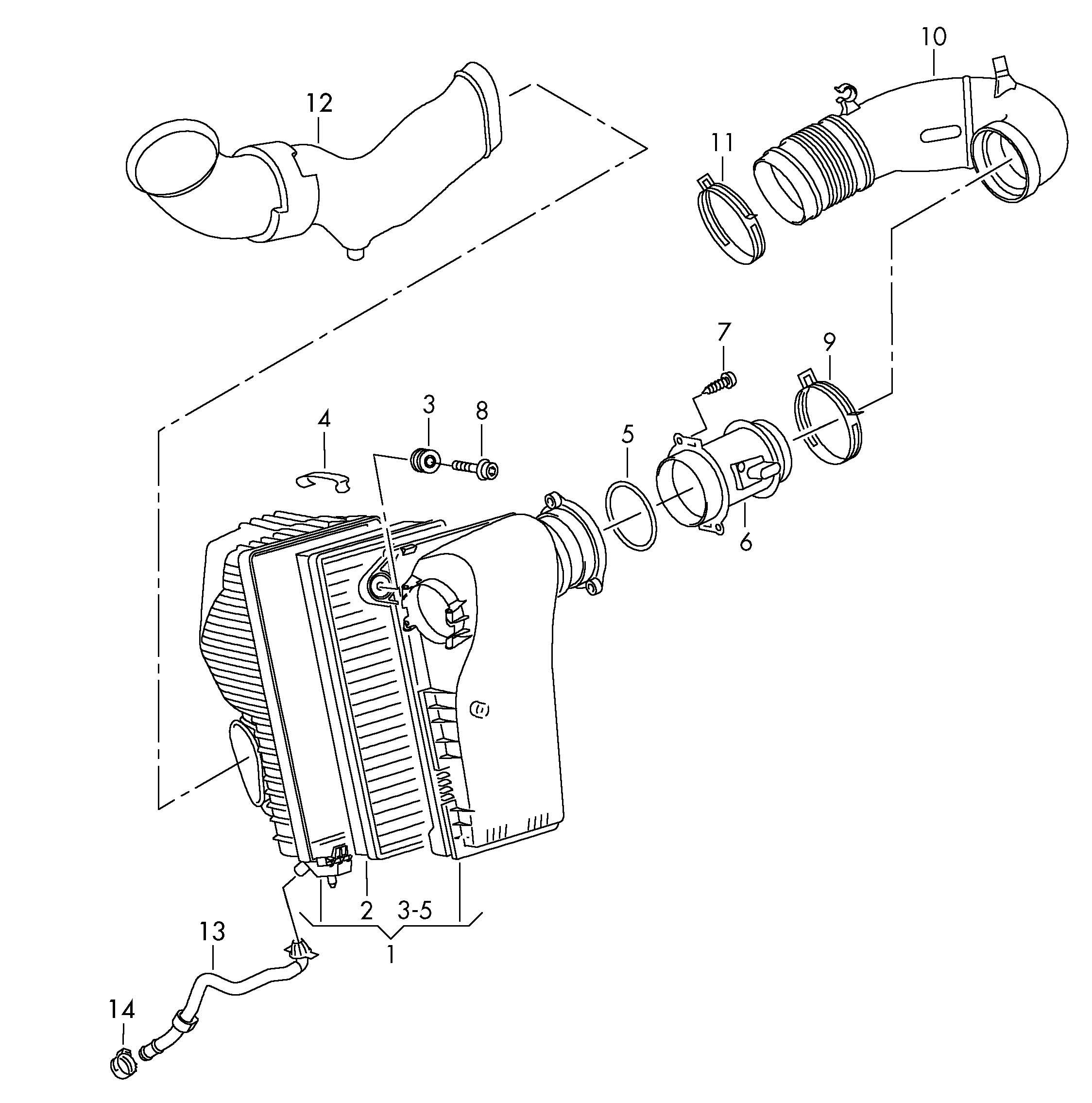 Volkswagen Touareg Mass Air Flow Sensor Volume Air Flow