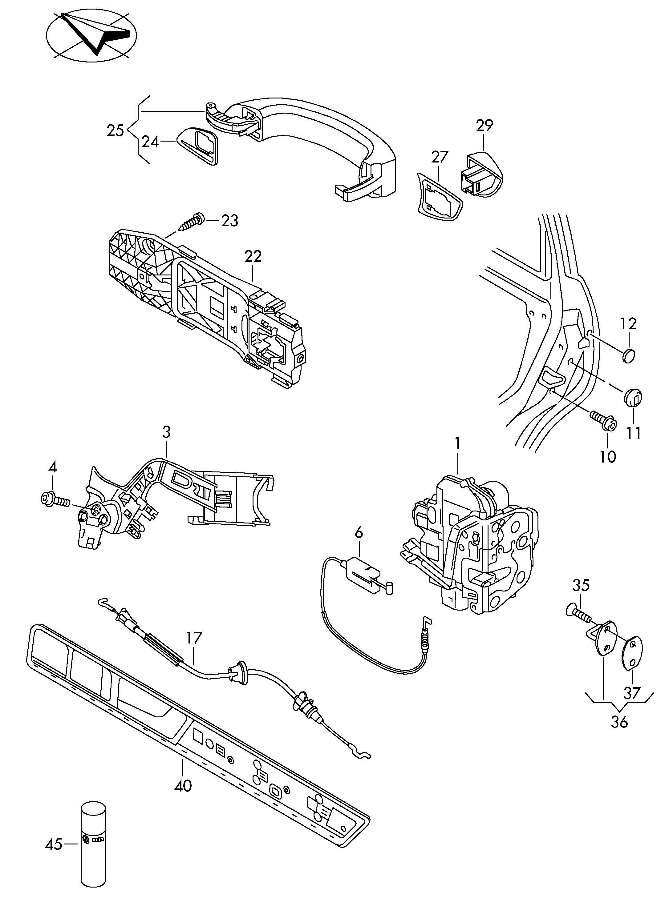 Service Manual Volkswagen Touareg Outer Door Handle