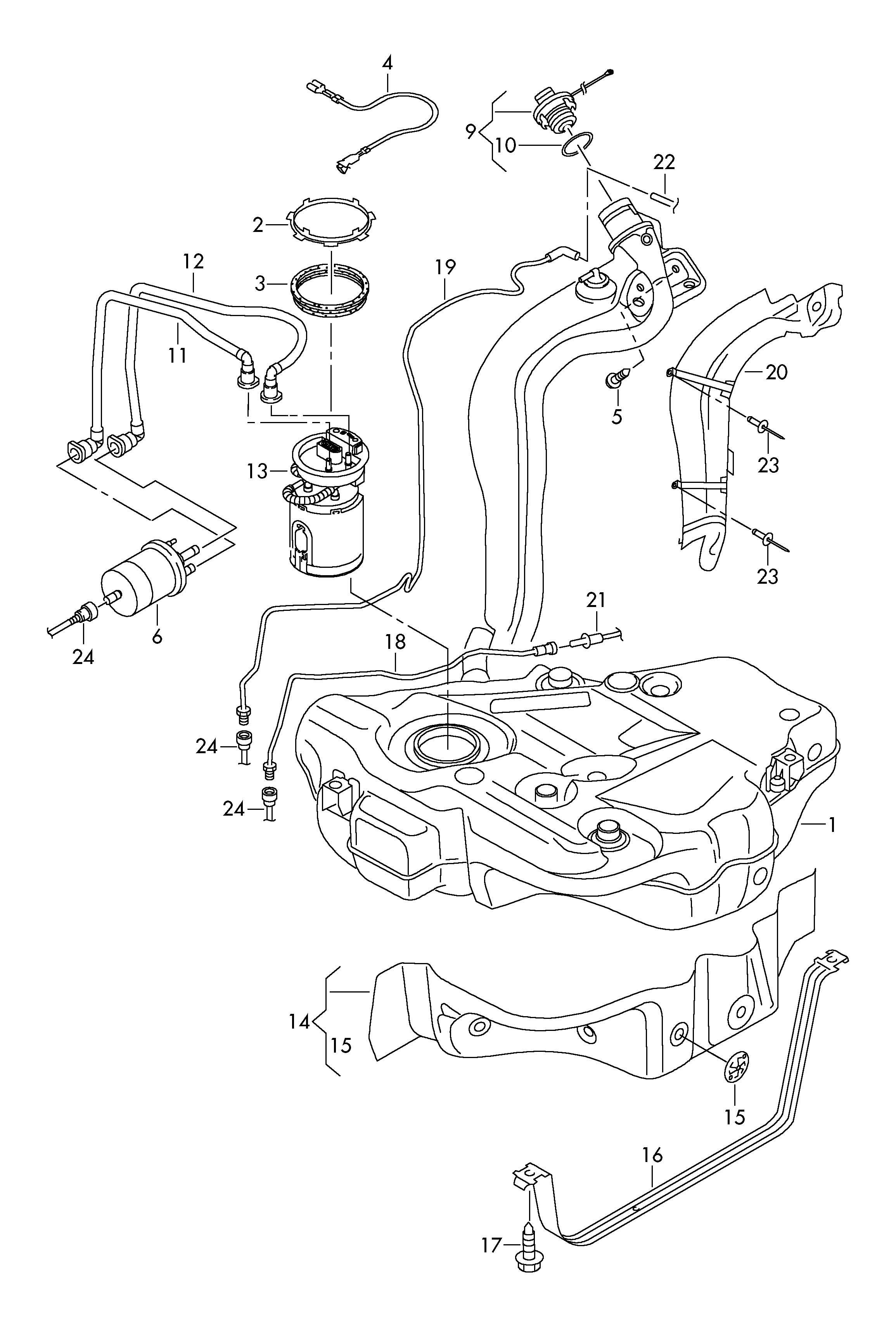 Volkswagen Golf Cap Fuel Filler With Retaining Strap