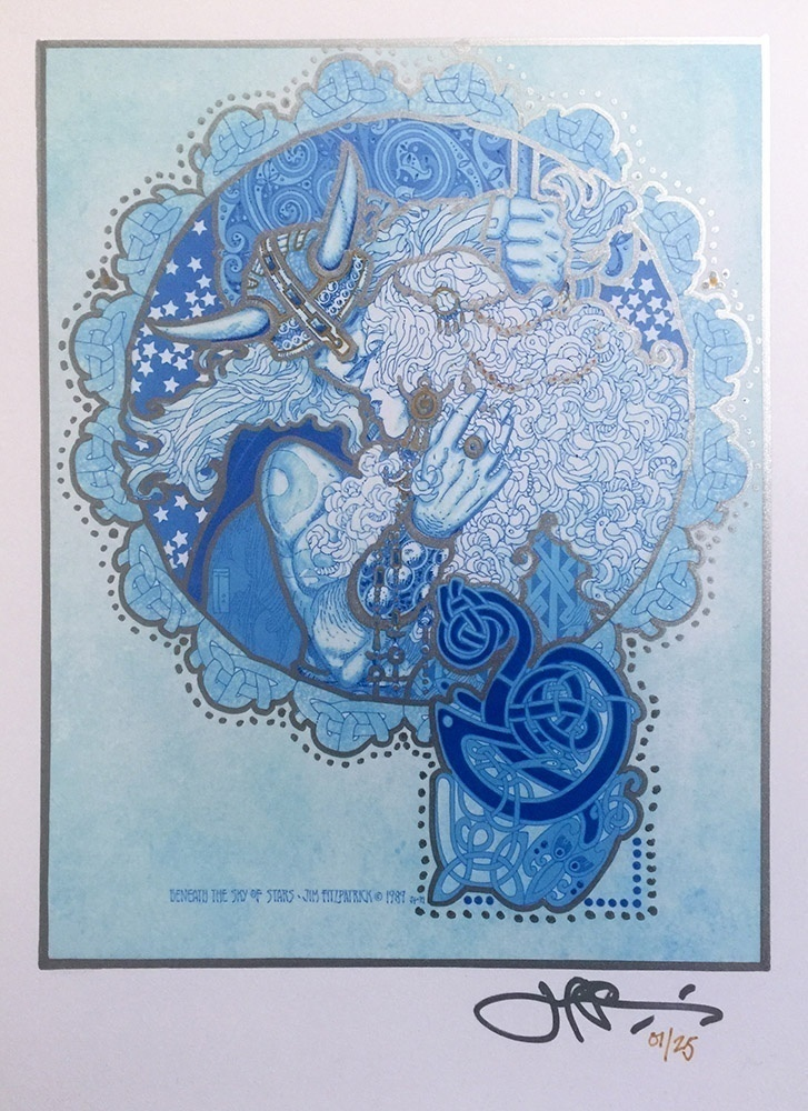 Beneath The Sky Of Stars Hand Colored Gold Print