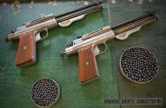 The Apaches at the range with a tin of No. 4 Buckshot (.24 cal) and a tin of .177 lead BBs.