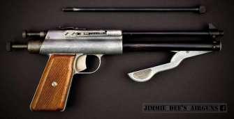 The Apache Fireball air pistol (1947-1949) dual calibre repeater model.