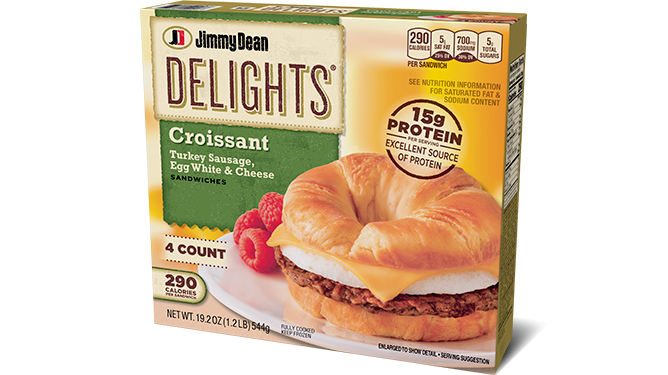 delights turkey sausage egg white cheese croissant