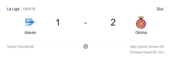 Slutresultat af Deportivo Alavés - Griona FC 1-2