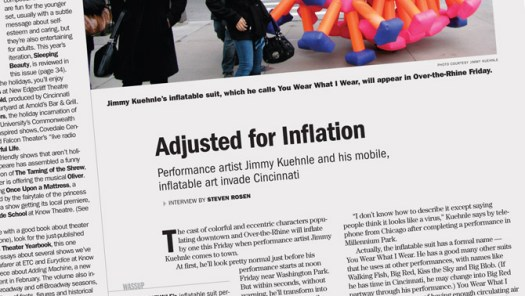Article in the Cincinnati CityBeat by Steven Rosen about inflatable art suits