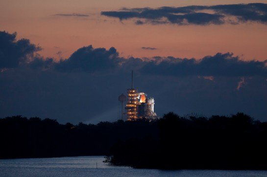 Endeavour sits on the launch pad in the predawn hours of May 16, 2011.