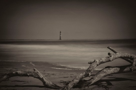 A 30 second exposure of the Morris Island Light. I used a 10 stop ND filter to give me the exposure time I was after. Converted to black and white using Nik Silver Efex Pro.