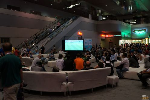 This lounge outside of the InfoComm doors at LVCC was full of people watching the World Cup!