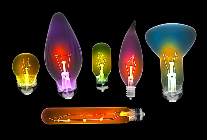 Assorted light bulbs, X-ray