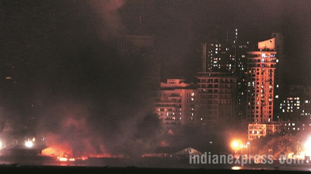 A massive fire broke out on Sunday evening during a cultural programme at Make In India week event in Mumbai. The fire broke out below the stage during the programme.Maharashtra chief minister Devendra Fadnavis and governor C Vidyasagar Rao who were present during the programme were quickly moved out of the area. Express Photos by Pradip Das,14/02/16,Mumbai