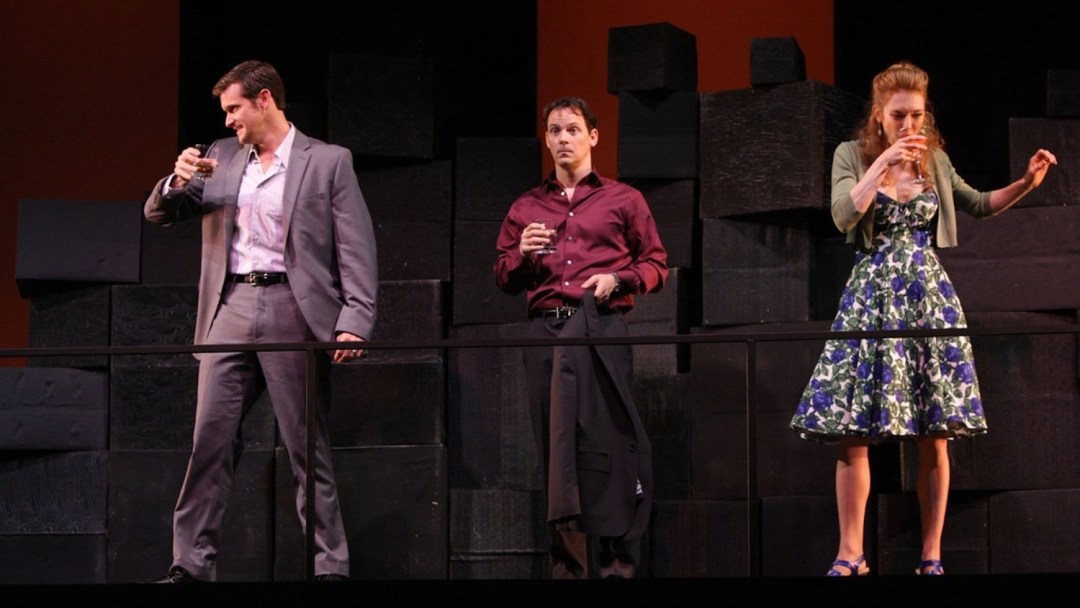 Kevin Vortmann, Jim Poulos and Elisa Van Duyne - Company at Geva Theatre Center, 2012: Director: Mark Cuddy, Scenic Design: G.W. Mercier, Costume Design: Pamela Scofield, Lighting Design: Joel Moritz, Photos: Ken Huth
