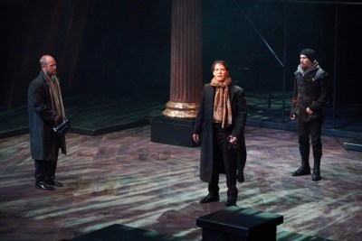 Christopher Gerson, Jim Poulos, Harrison Farmer - Hamlet by William Shakespeare presented by Repertory Theater of St. Louis on Oct 10, 2017. Photo: Peter Wochniak