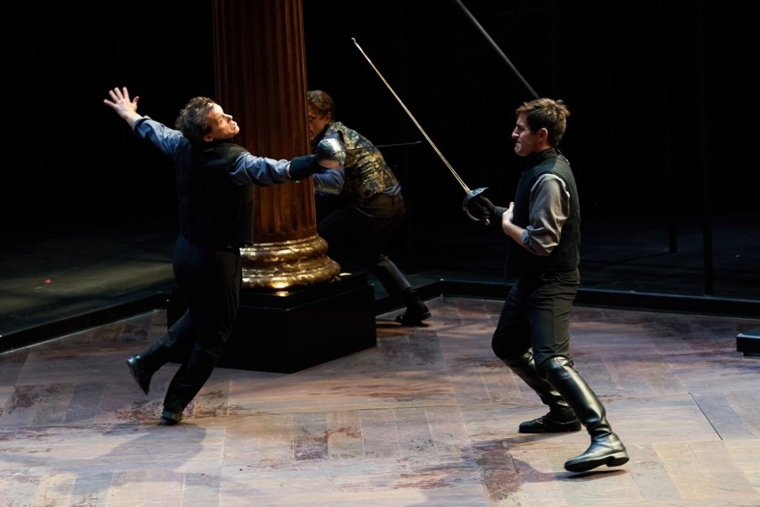 Jim Poulos, Carl Howell, (background )Ben Nordstrom - Hamlet by William Shakespeare presented by Repertory Theater of St. Louis on Oct 10, 2017. Photo: Peter Wochniak