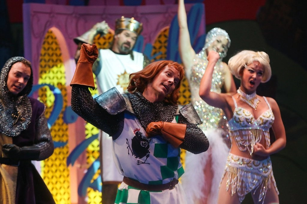 Front: Andy Frank, Jim Poulos, Leah Hassett Back: Hunter Foster, Ashley Dawn Mortensen - Spamalot at Geva Theatre Center, 2015 - Director: Melissa Rain Anderson, Scenic Design: James Morgan, Costume Design: Susan Branch Towne, Lighting Design: Brian J. Lilienthal, Photos: Ken Huth