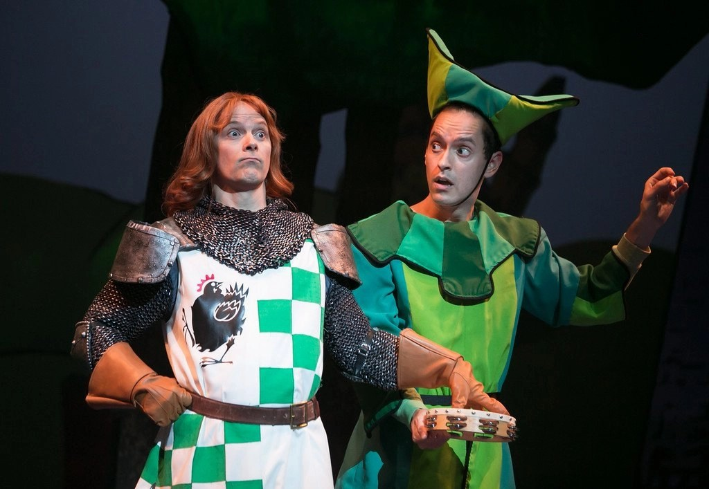 Jim Poulos, Jacob Hoffman - Spamalot at Geva Theatre Center, 2015 - Director: Melissa Rain Anderson, Scenic Design: James Morgan, Costume Design: Susan Branch Towne, Lighting Design: Brian J. Lilienthal, Photos: Ken Huth
