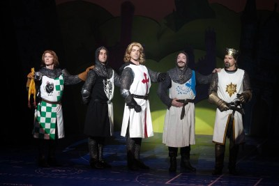 Jim Poulos, Mike DiSalvo, Brandon Andrus, Michael Warrell, Hunter Foster - Spamalot at Geva Theatre Center, 2015 - Director: Melissa Rain Anderson, Scenic Design: James Morgan, Costume Design: Susan Branch Towne, Lighting Design: Brian J. Lilienthal, Photos: Ken Huth
