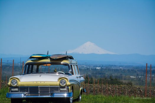 57 Ford with Mt. Hood in Distance