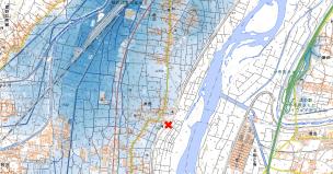 2019年台風19号による浸水推定段彩図(出典:国土地理院)