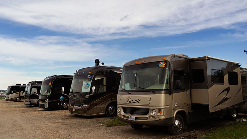 Class A motoromes from a guided caravan.