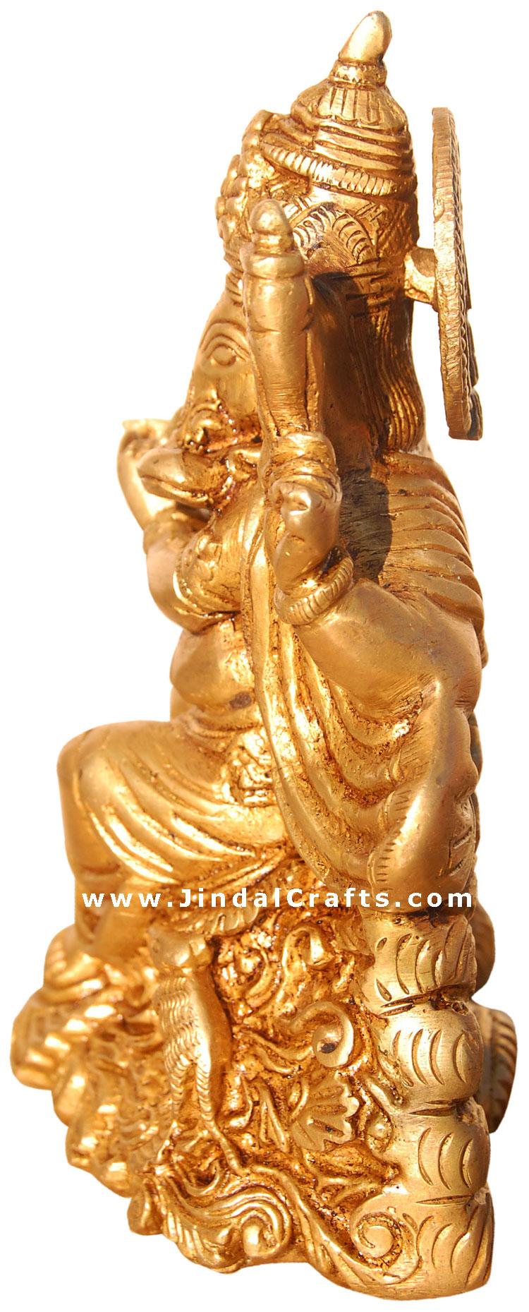 Lord Ganesh Hindu God Figure Artifact Made From Brass