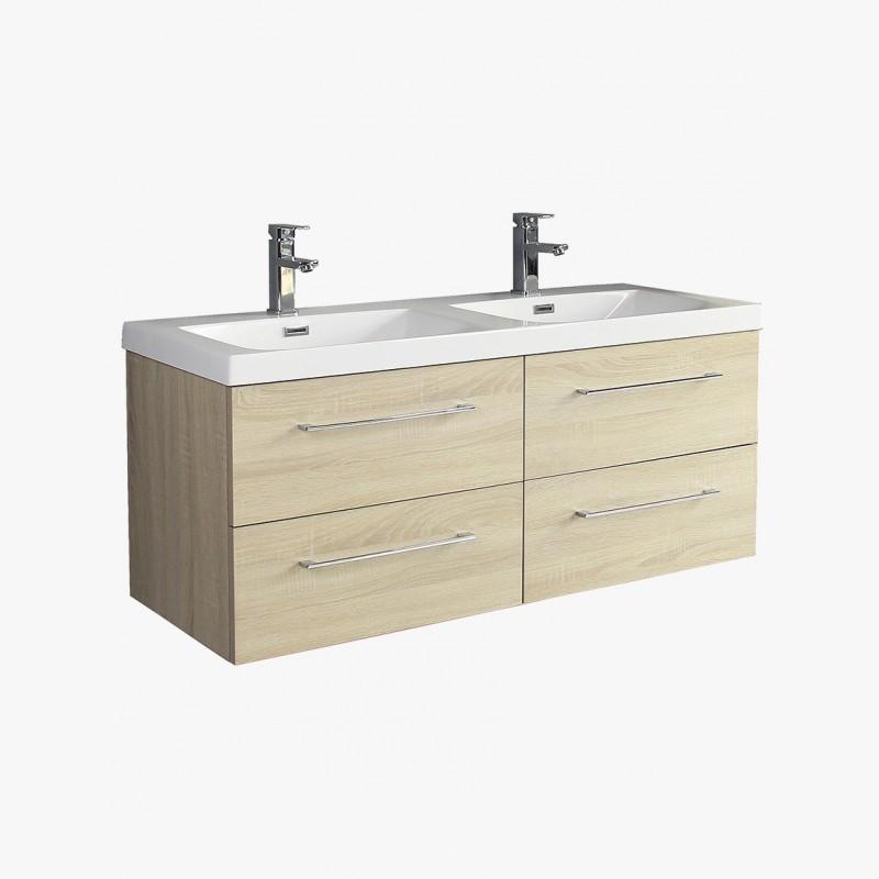 aquazur meuble salle de bain double vasque 120 cm avec 4 tiroirs